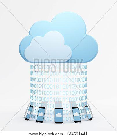 Smartphones around virtual cloud with binary codes.