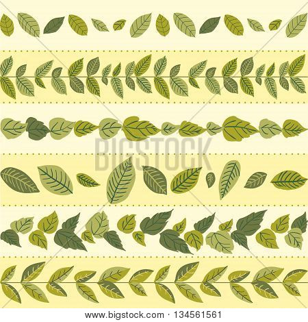 Set of seamless naturalistic brushes of branches and leaves.