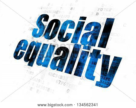 Politics concept: Pixelated blue text Social Equality on Digital background