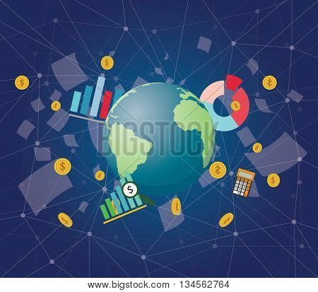 global economy with planet earth world money graph and paper document vector graphic illustration