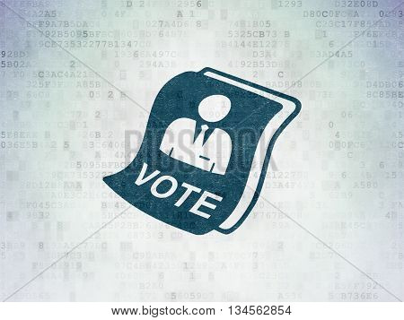 Politics concept: Painted blue Ballot icon on Digital Data Paper background