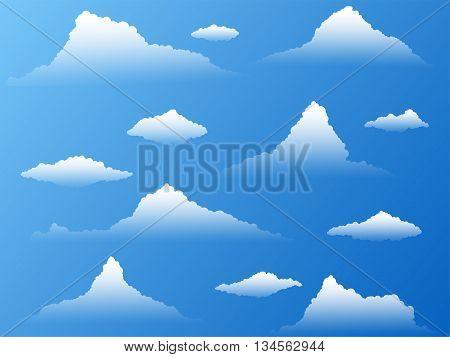 Set of twelve transparent different clouds.Clip art