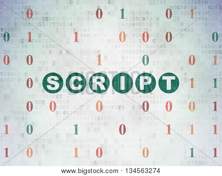 Database concept: Painted green text Script on Digital Data Paper background with Binary Code