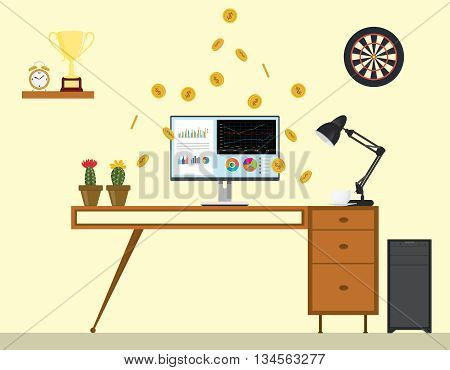 business monitoring with graph and chart on front of the monitor and work desk table vector graphic illustration