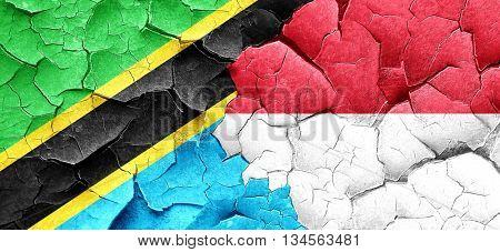 Tanzanian flag with Indonesia flag on a grunge cracked wall