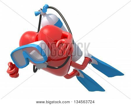 Heart With Diving Goggles And Flippers