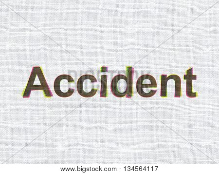 Insurance concept: CMYK Accident on linen fabric texture background