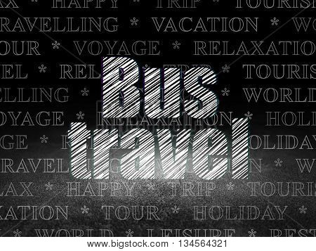 Tourism concept: Glowing text Bus Travel in grunge dark room with Dirty Floor, black background with  Tag Cloud