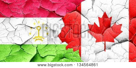Tajikistan flag with Canada flag on a grunge cracked wall