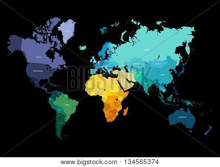 Color World Map Vector Illustration. Empty template with country names text. Isolated on black background with different colors of continents and countries.