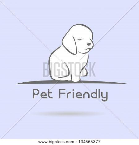 little stylized pet friendly on a blue background