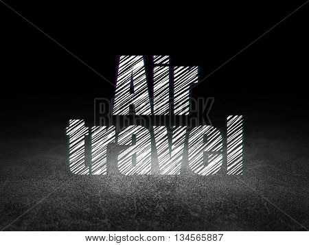 Travel concept: Glowing text Air Travel in grunge dark room with Dirty Floor, black background