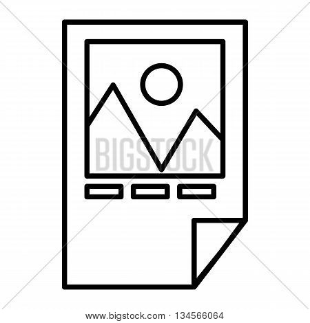 Tested ink paper with printer marks icon in outline style isolated on white background