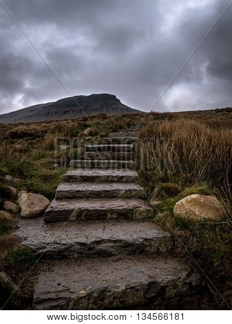 Path to Pen-y-Ghent Yorkshire Dales National Park
