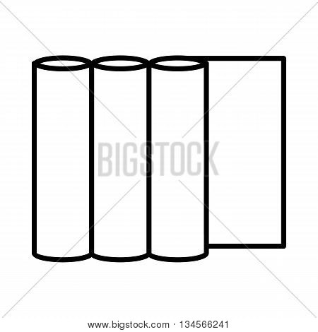 Rolls of paper icon in outline style on a green background