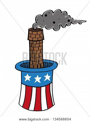 Top hat decorated with elements of the USA flag from which an industrial chimney is emerging and producing emissions in the form of a cloud of pollution