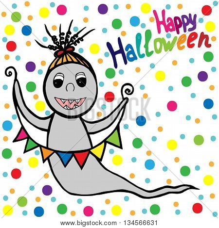 Ghost which smiles with multicolor small flags in hands on the white background with multicolor circle. Greeting card Halloween holiday.