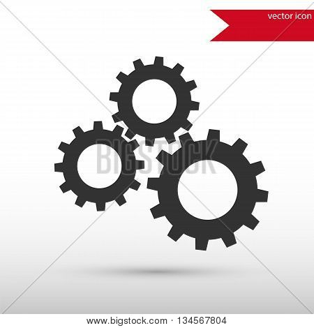Black gears icon. Vector illustration design element. Flat style design icon.