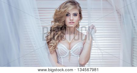 Romantic Blonde Girl Posing.