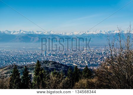 view turin with clear skies and with Mole Antonelliana