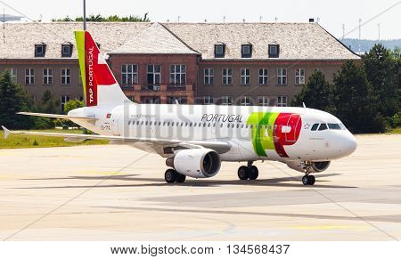 BERLIN / GERMANY - JUNE 4 2016: Airbus A 319 - 111 from TAP Portugal on airport schoenefeld berlin / germany at june 4 2016