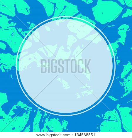 Template with semi-transparent white circle over bright colorful blue and green artistic paint splashes ready for your text.