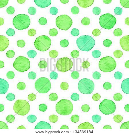 Seamless hand drawn watercolor pattern made of round green dots isolated over white.