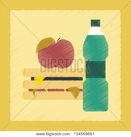 flat shading style icon school sandwich apple water