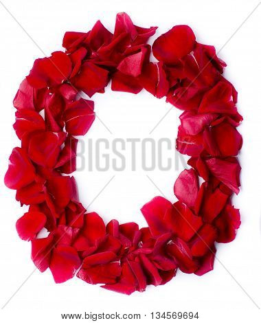 Alphabet O Made From Red Rose