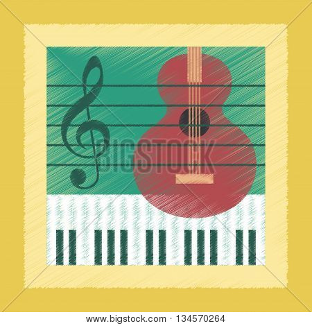 flat shading style icon school music lesson