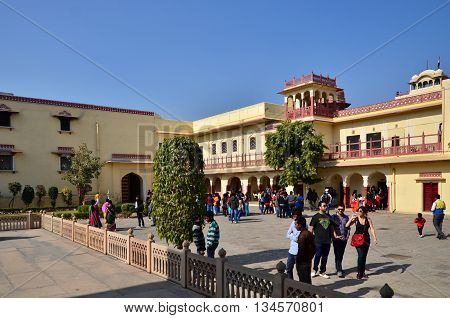 Jaipur India - December 29 2014: People visit Amber Fort in Jaipur Rajasthan India on December 29 2014. The Fort was built by Raja Man Singh I.