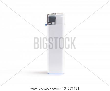White blank gas lighter mock up stands isolated.