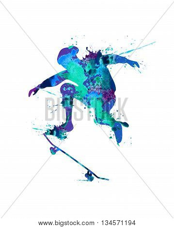Skateboarder. Vector watercolor blue splash paint on white