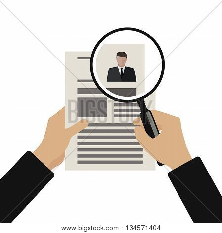 View Resume with magnifying glass. Hiring staff process. Vector simple illustration of recruitment.