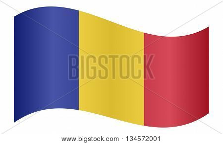 Flag of Chad waving on white background