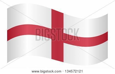 English Flag Cross of St. George waving on white background