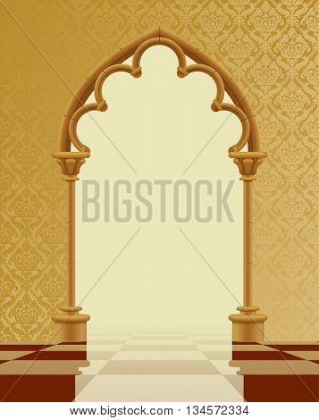 Beige and brown gothic gate with classic decorative background on the chess glossy floor. Vintage architecture frame. Easy to place any your background instead of white. Vector Illustration