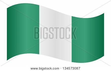 Flag of Nigeria waving on white background