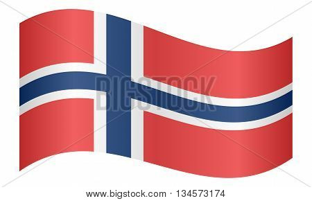 Flag of Norway waving on white background