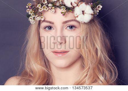 Magnificent blond woman sweet portrait on black