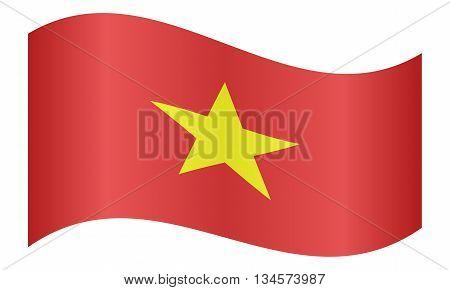 Flag of Vietnam waving on white background
