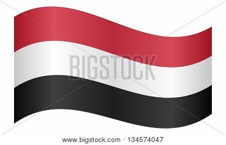Flag of Yemen waving on white background