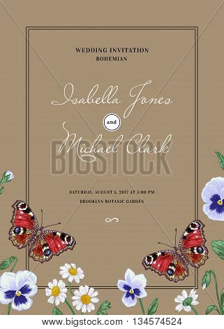 Vintage wedding invitation in the bohemian style.Summer flowers and a butterfly. Pansies daisies violet dahlia. Design elements. Kraft.