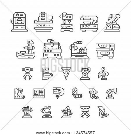 Set line icons of machine tool, robotic industry isolated on white. Vector illustration