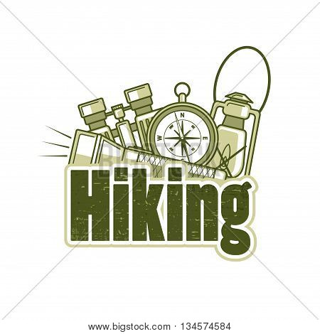 Logo Template For Hiking With Flashlight, Compass, Binocular And Kerosene Lamp.
