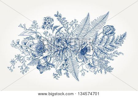 Bouquet with a vintage garden with flowers and leaves. Vector botanical illustration. Chrysanthemum tulip peony anemone phlox ferns boxwood. Design elements. Blue flowers.