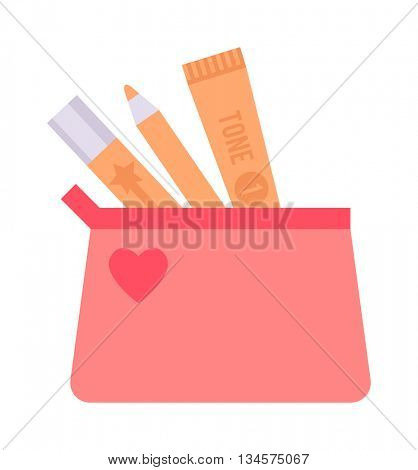 Skin corrective cosmetics vector illustration.