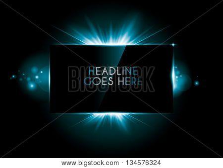 Vector of rectangular frame with luminous rays
