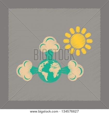 flat shading style icon nature earth greenhouse effect