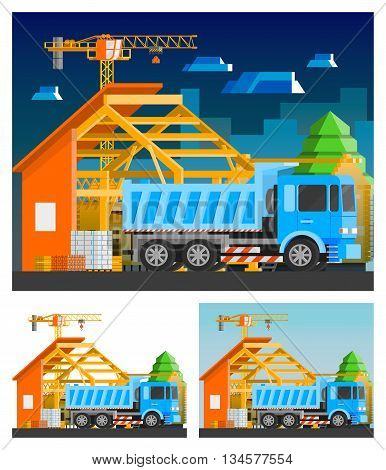 Construction orthogonal compositions set with house and truck flat isolated vector illustration
